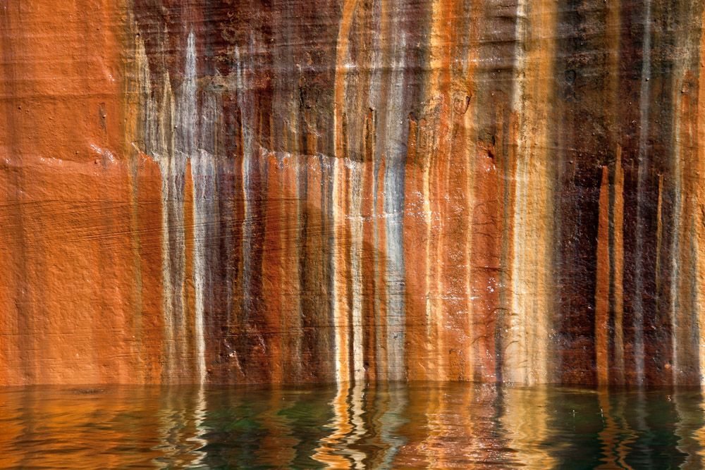 Mineral seeps on sandstone cliffs between Miners and Mosquito Beaches, Pictured Rocks National Lakeshore, Michigan.