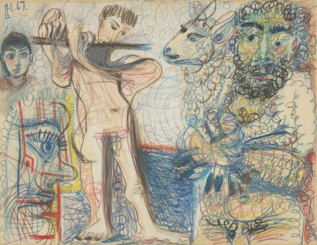Pablo Picasso. Man and Flute Player, 1967. The Art Institute of Chicago, restricted gift from the estate of Loula D. Lasker, © 2013 Estate of Pablo Picasso / Artists Rights Society (ARS), New York.
