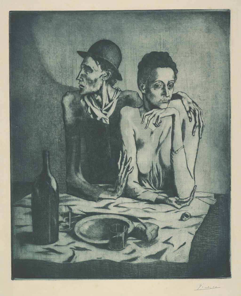 Pablo Picasso. The Frugal Meal, from The Saltimbanques,1904. The Art Institute of Chicago, Clarence Buckingham Collection. © 2013 Estate of Pablo Picasso / Artists Rights Society (ARS), New York.