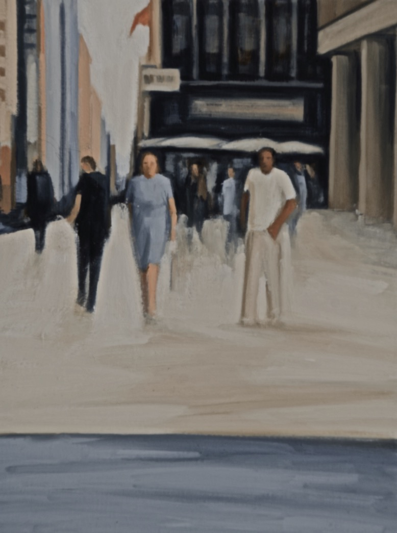 """Katherine Weiss, """"Passing Figures"""", oil on canvas, 18 x 14 inches"""