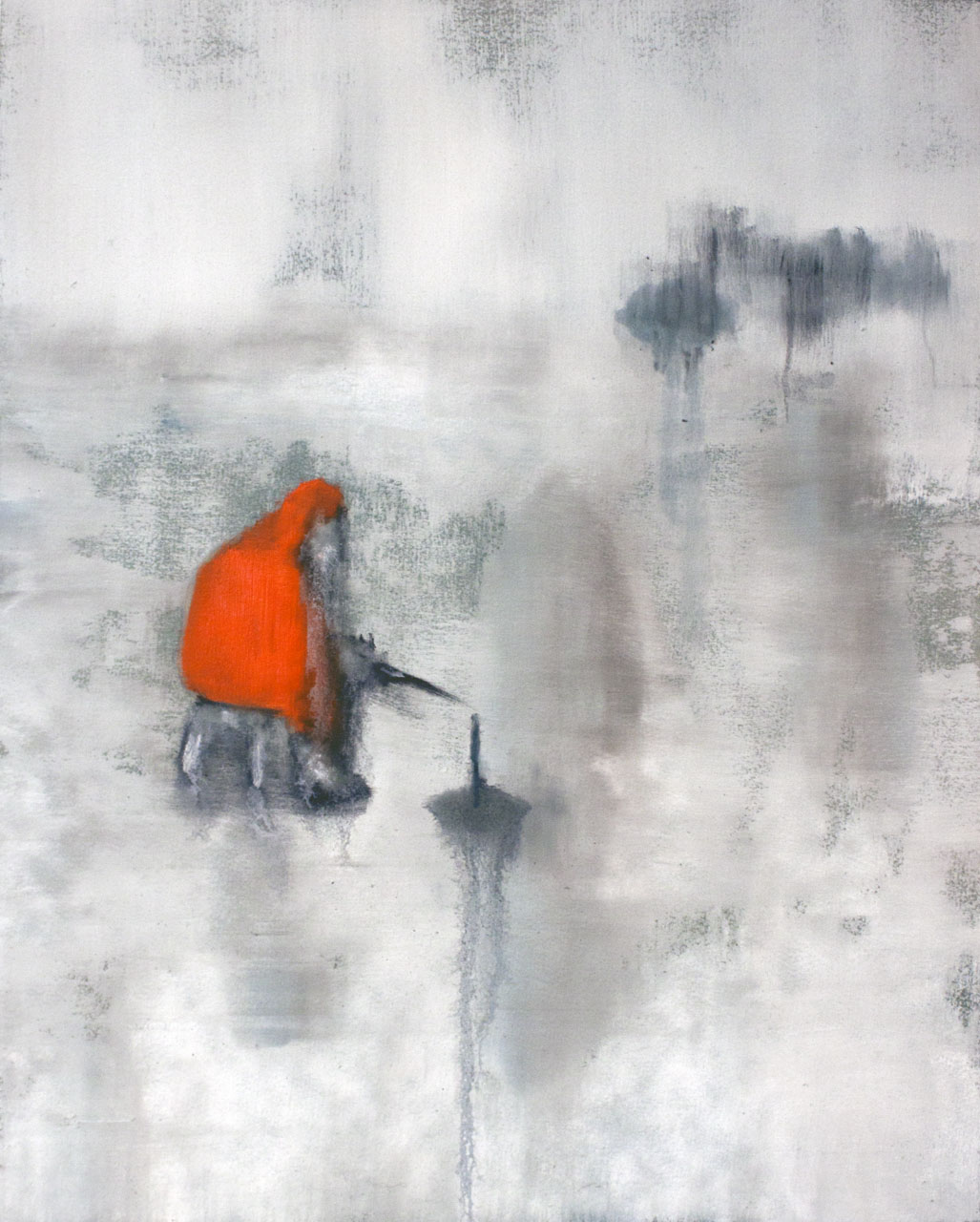 "Jim Hittinger,  ""Ice Fisher,"" oil on paper, 2015, 18x24 inches."