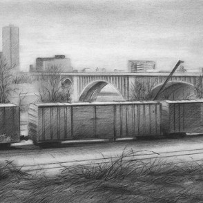 """Michael Banning """"Train Cars near the Mississippi River, Minneapolis"""" 2014   charcoal   $700.00 image: 10.5 x 18""""   frame: 16.25 x 23.15"""""""