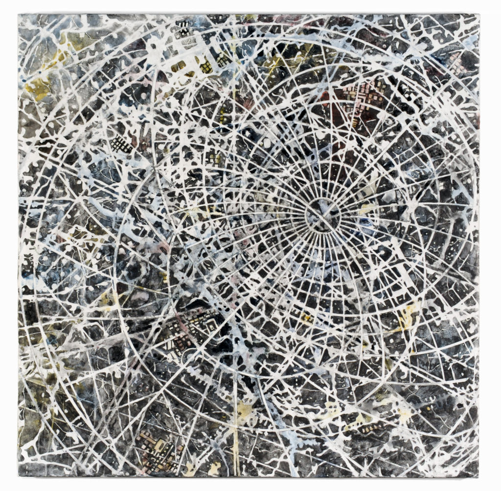 1. Goldsleger, Interference, 2016, mixed media on linen, 36 x 36 inches