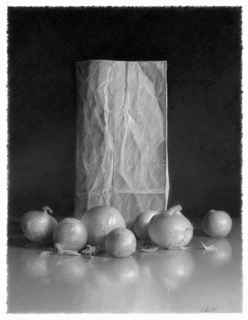 "Skip Steinworth ""Paper Bag and Onions"" 25.5"" x 19.5"""