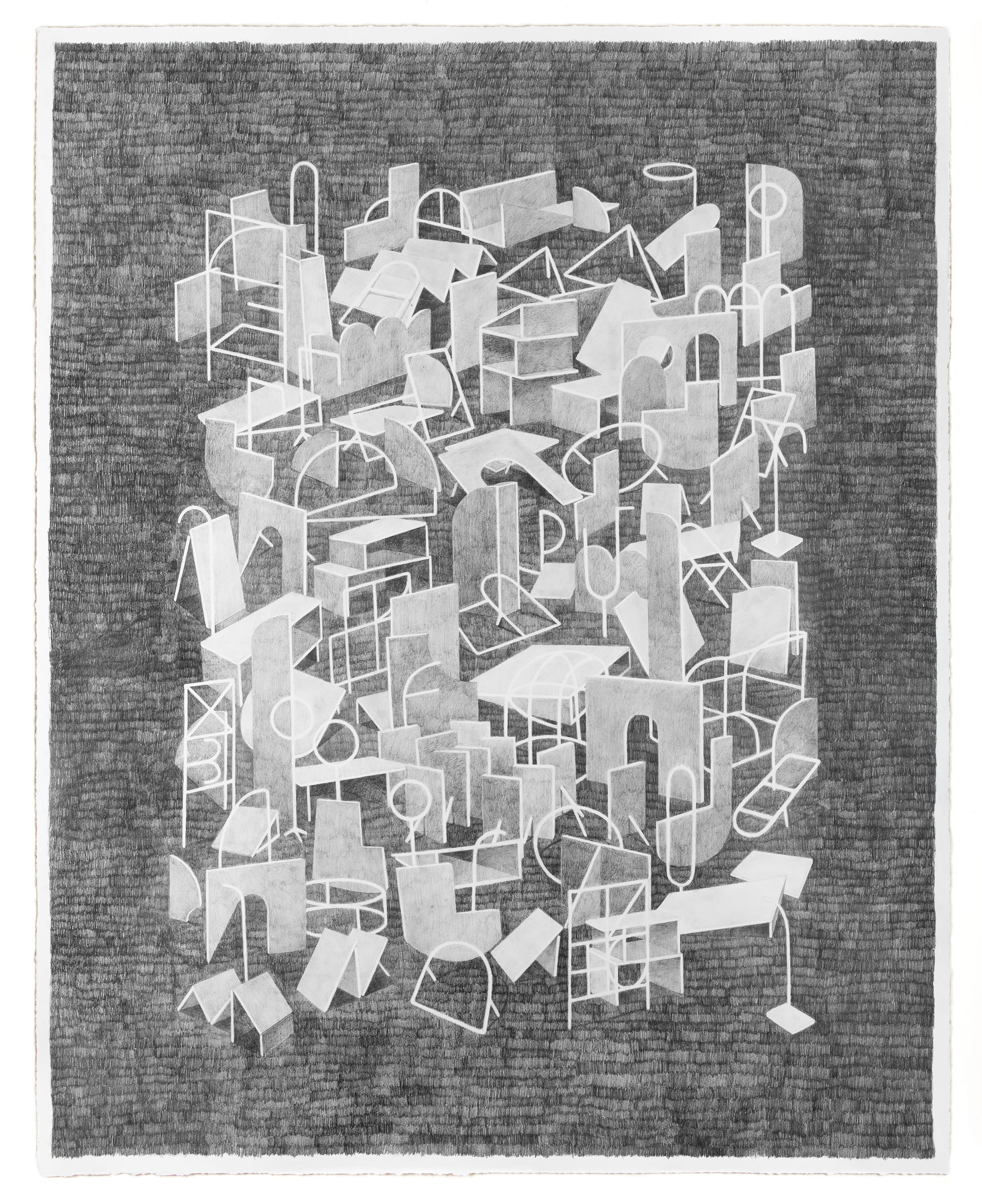 "Kat Chamberlin, ""Big Quarry"" Graphite on Paper, 2017, 48 x 38"