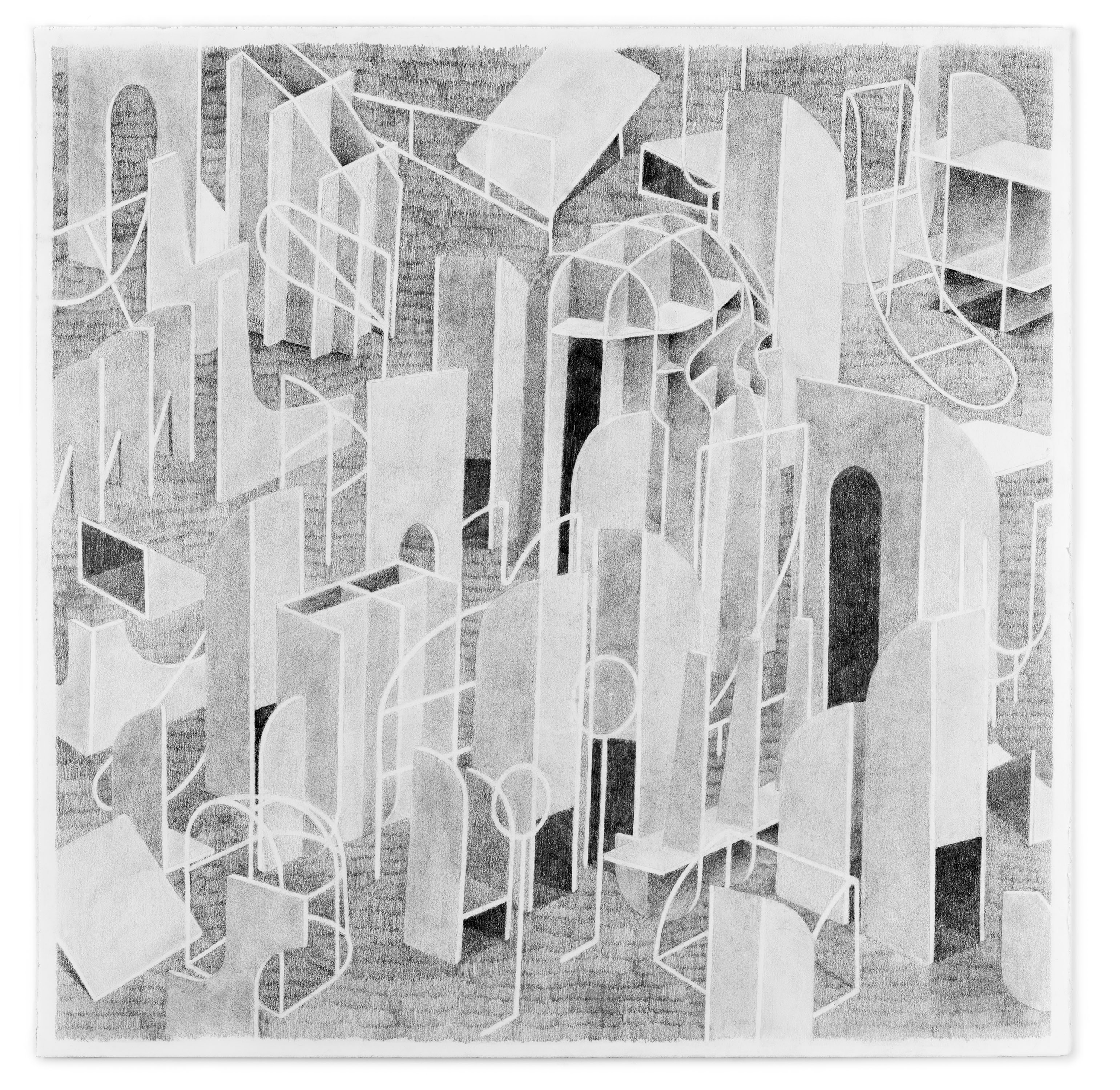"Kat Chamberlin, ""Call and Response"" graphite on paper, 2017, 25 x 25"