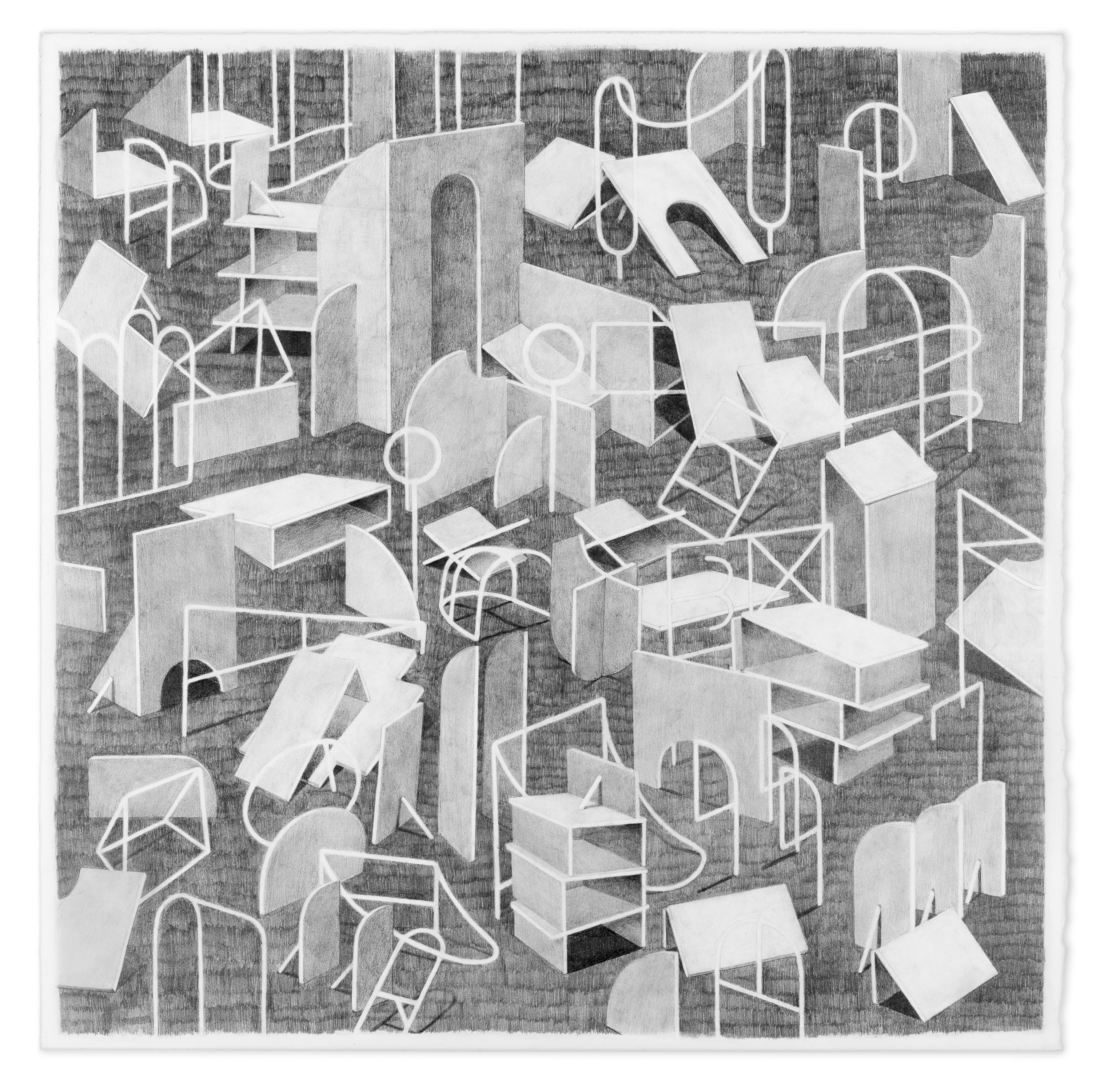"""Kat Chamberlin """"Clackity Click"""" Graphite on paper, 2016,  25 x 25"""