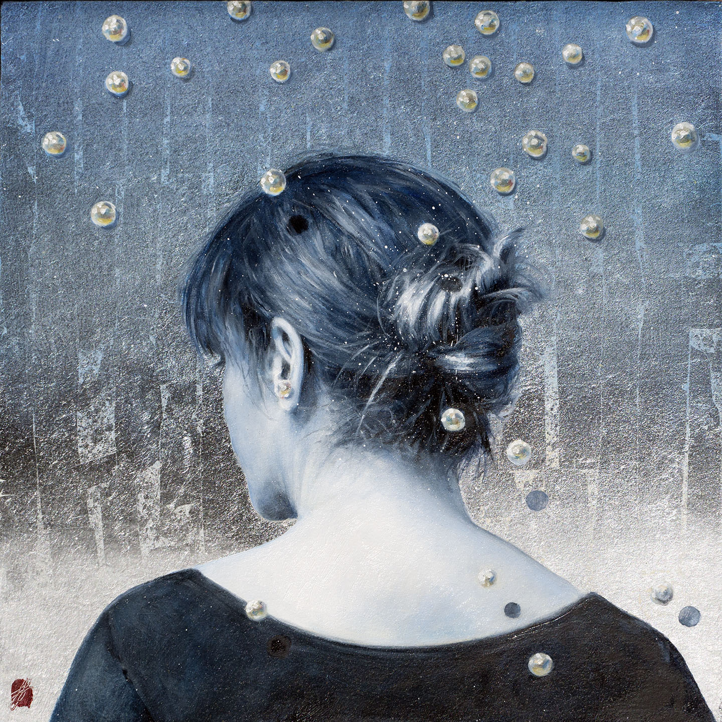 "June Stratton, ""Pearls in Blue"" Oil and Silver Leaf, 12 x 12"