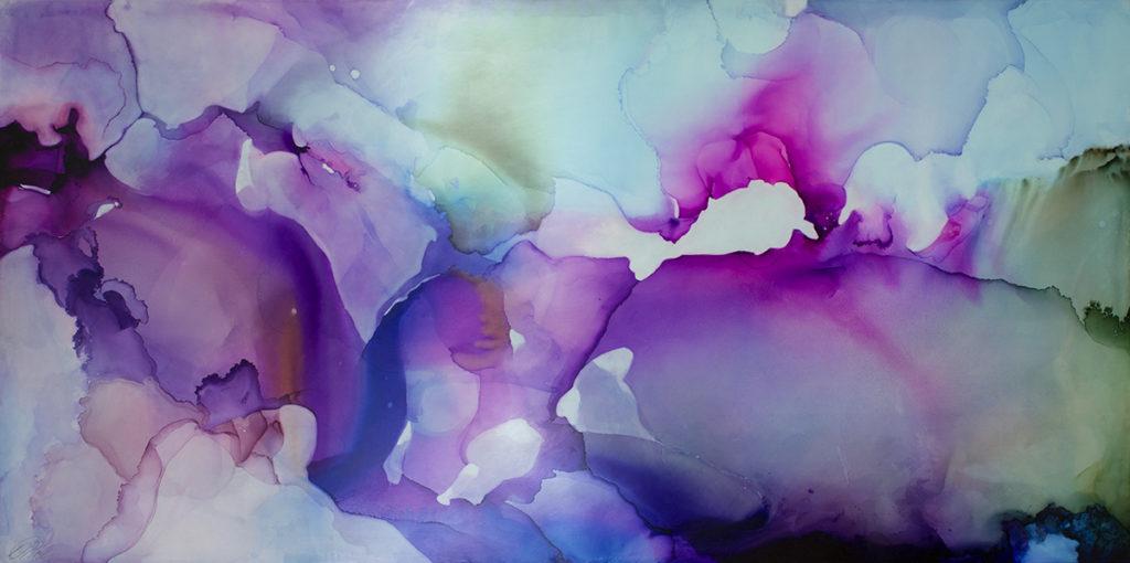 "Andrea Pramuk, Wingspan 1, Ink and acrylic on Claybord, 40x80"""