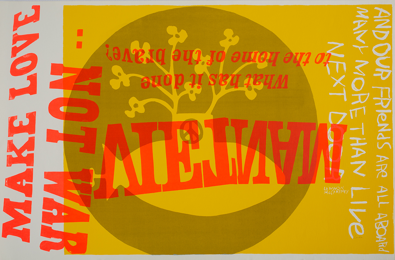 Corita Kent, American 1918 - 1986 yellow submarine, 1967 Serigraph 23 x 35 in. Photograph by Arthur Evans, Courtesy of the Corita Art Center, Immaculate Heart Community, Los Angeles, CA.
