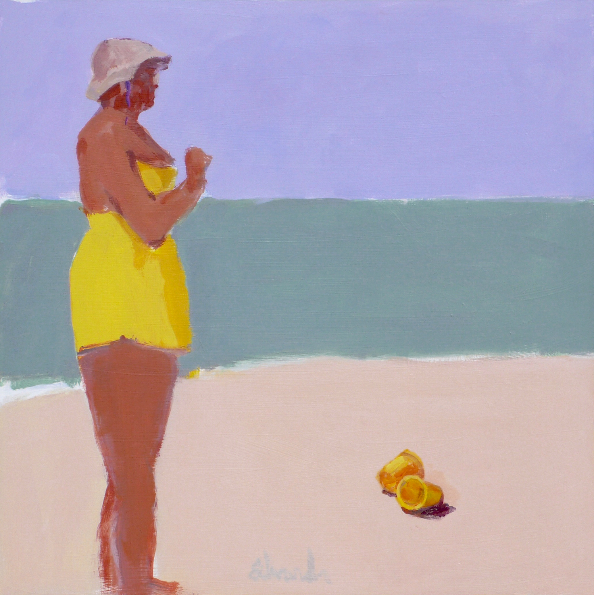 "Herb Edwards, ""Women with Yellow Pails"", Acrylic-Board, 24""x24"""
