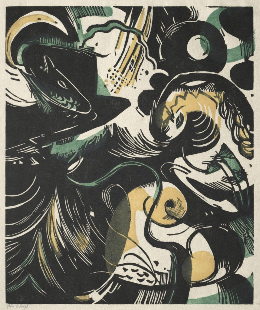 Genesis II, 1914. Franz Marc (German, 1880–1916). Color woodcut; 24 x 20.2 cm. Gift of the Print Club of Cleveland, 1959.228