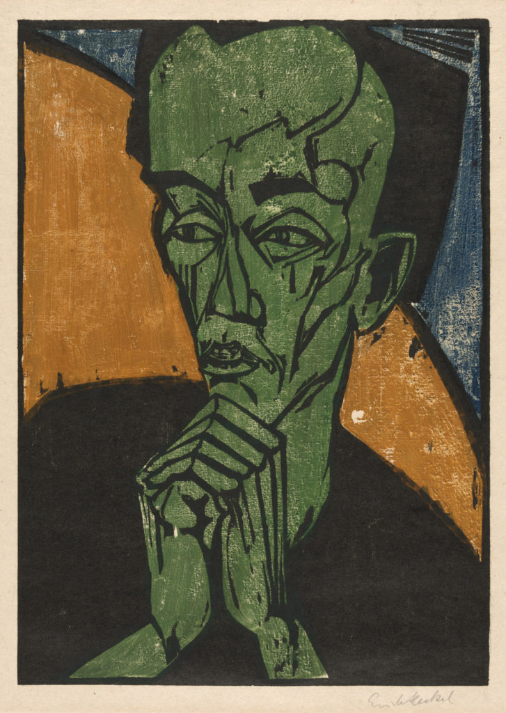 Portrait of a Man, 1919. Erich Heckel (German, 1883–1970). Color woodcut; 46 x 32.6 cm. John L. Severance Fund, 1991.109. © 2017 Artists Rights Society (ARS), New York / VG Bild-Kunst, Bonn