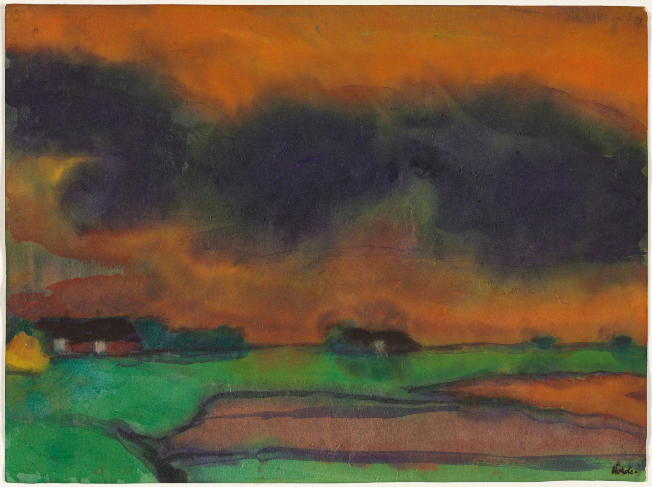 Marsh Landscape, c. 1930–35. Emil Nolde (German, 1876–1956). Watercolor; 34 x 45.5 cm. Bequest of Dr. Paul J. Vignos Jr., 2011.125. © Nolde Stiftung Seebüll, Germany