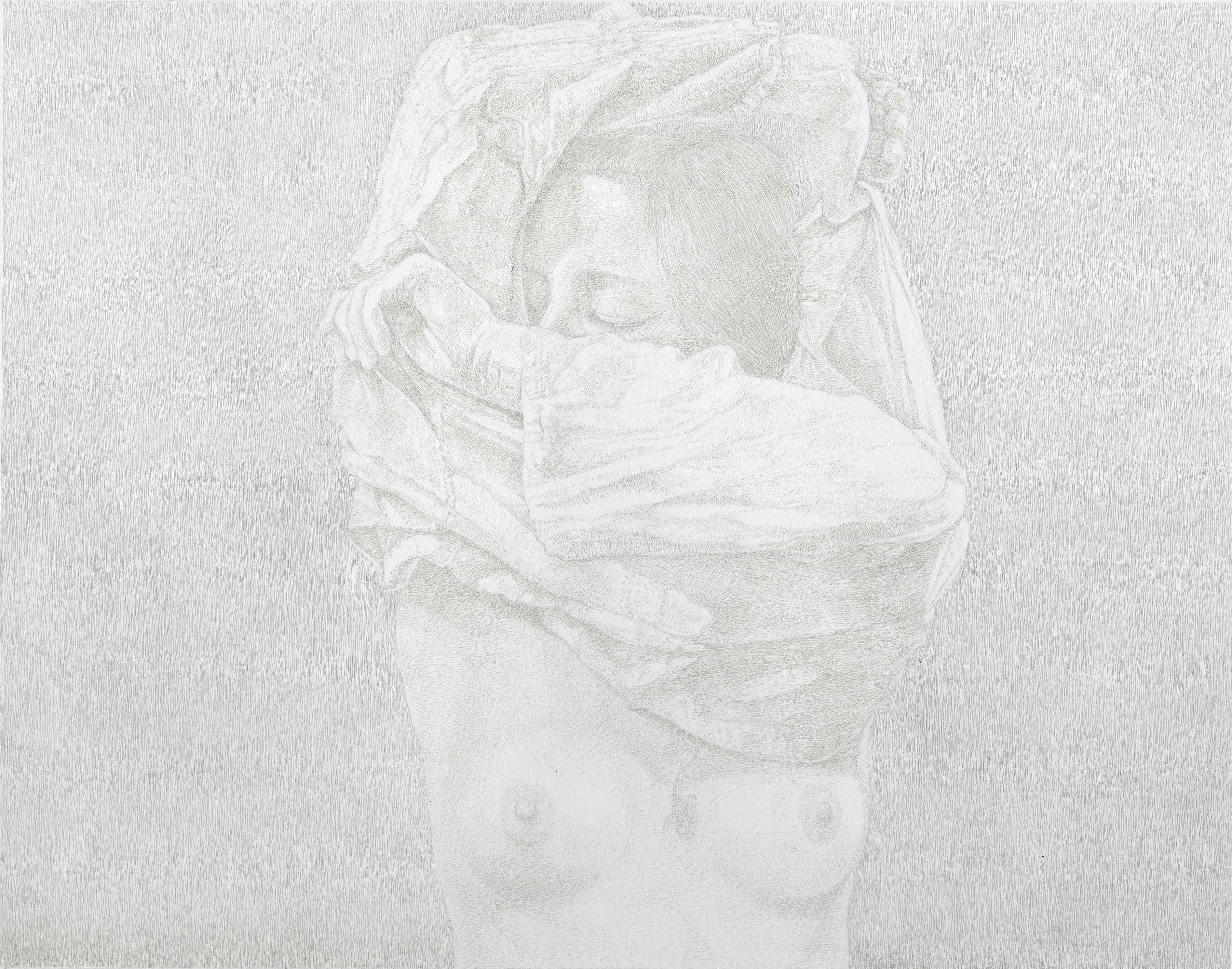 "James Grubola - The Friday Sessions: ""Prelude to a Pose"" III silverpoint 9.5 x 12"