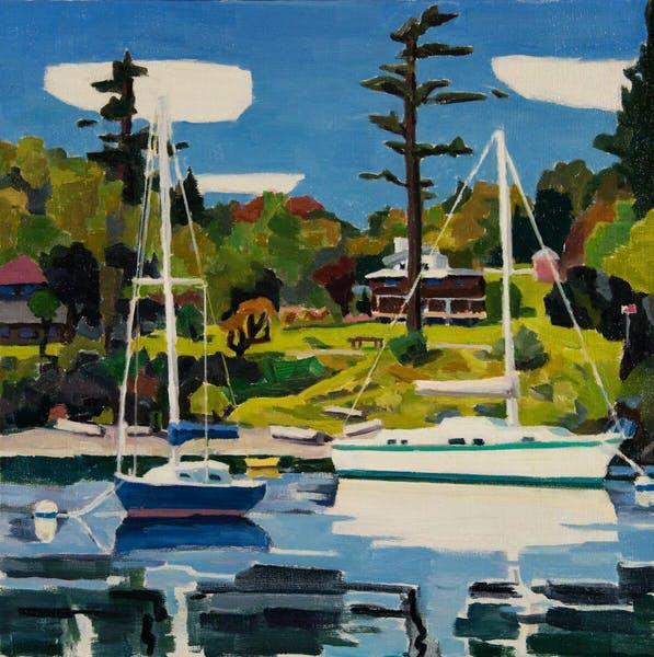 "David Ridgway ""2 Boats Friday Harbor"" 16 x 16 Oil on linen"