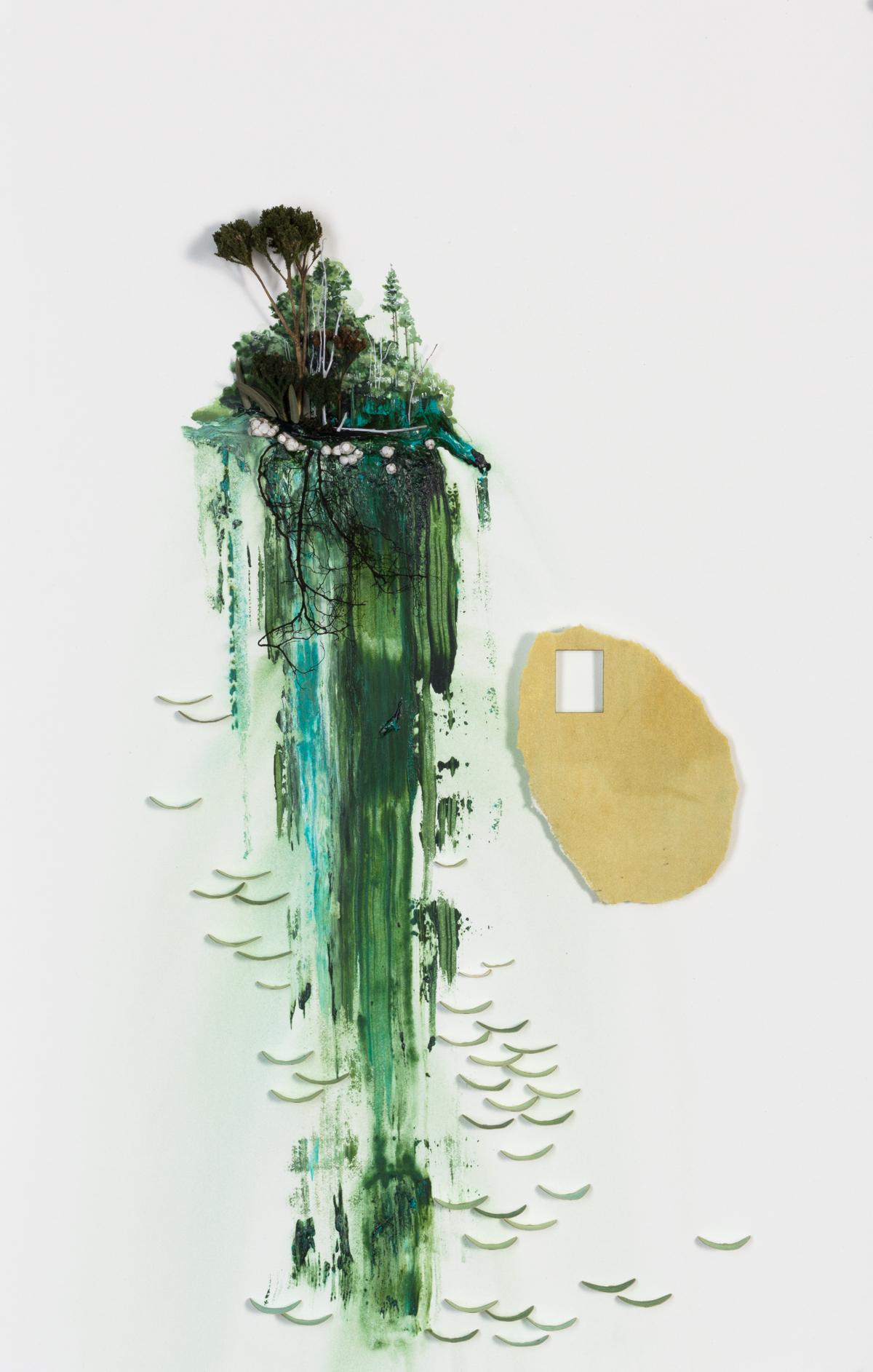 """Scrape 7"" Acrylic & Organic Matter, on paper, 23"" X 14"",  2018"