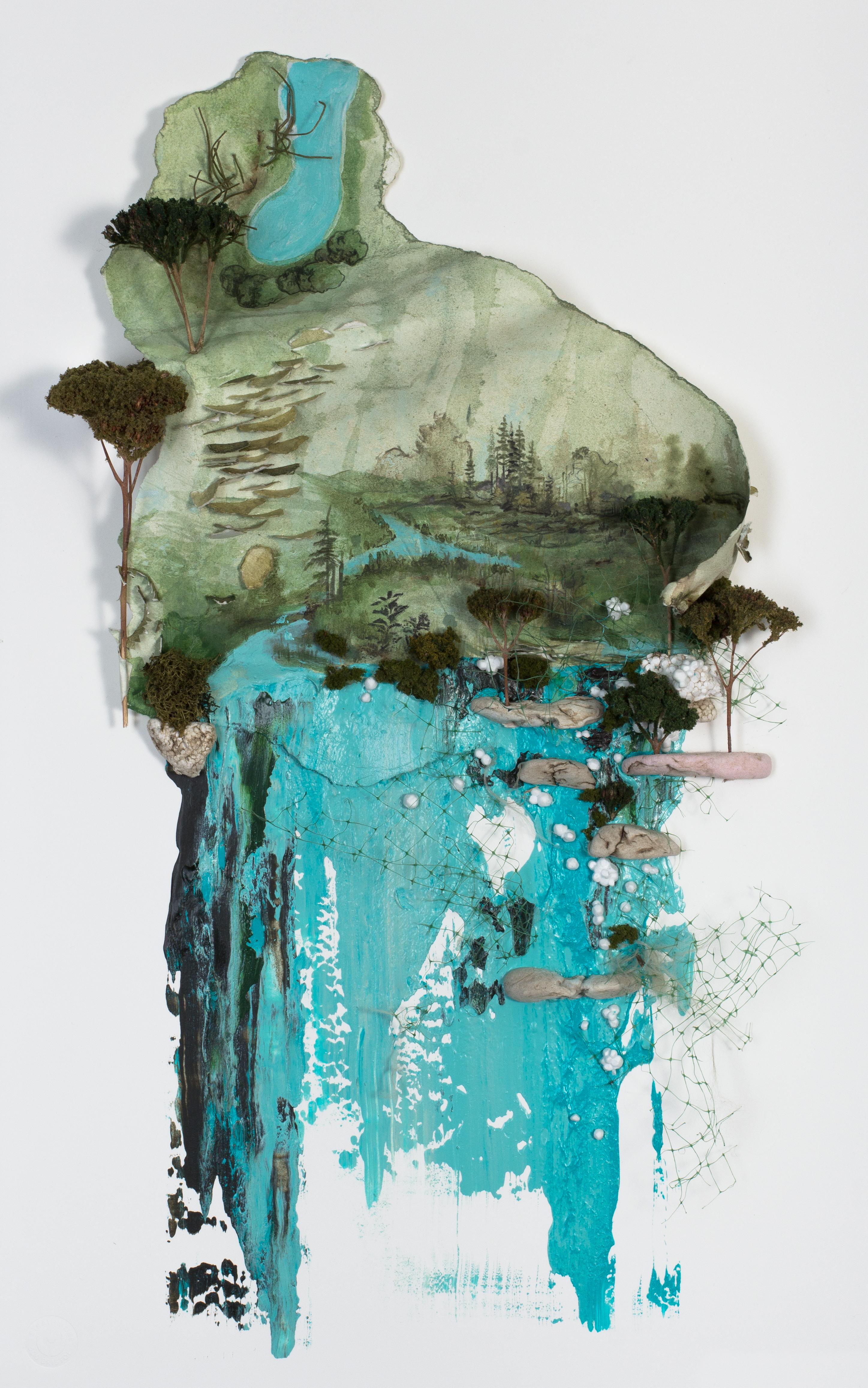 """Scrape 1"" Acrylic & Organic Matter, on paper, 23"" X 14"",  2018"