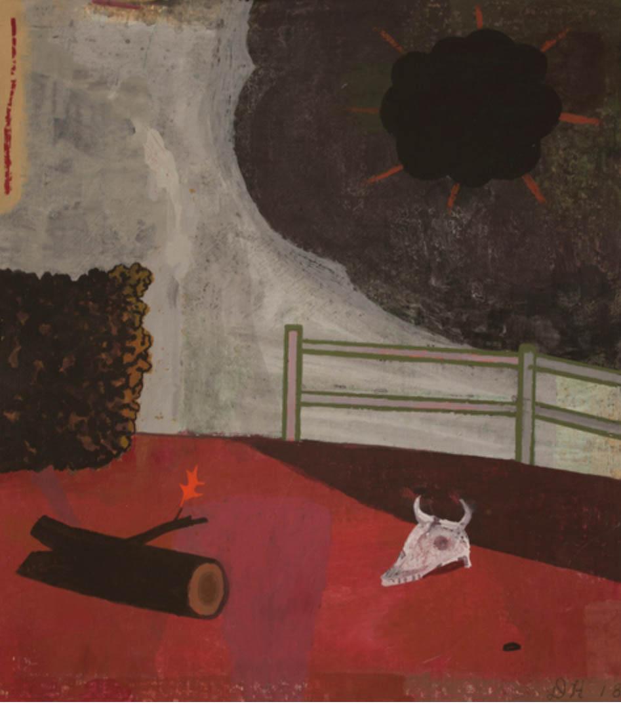 "David Hornung ""Under Darkness"" gouache on handmade paper 11 x 9 3/4"", 2018"