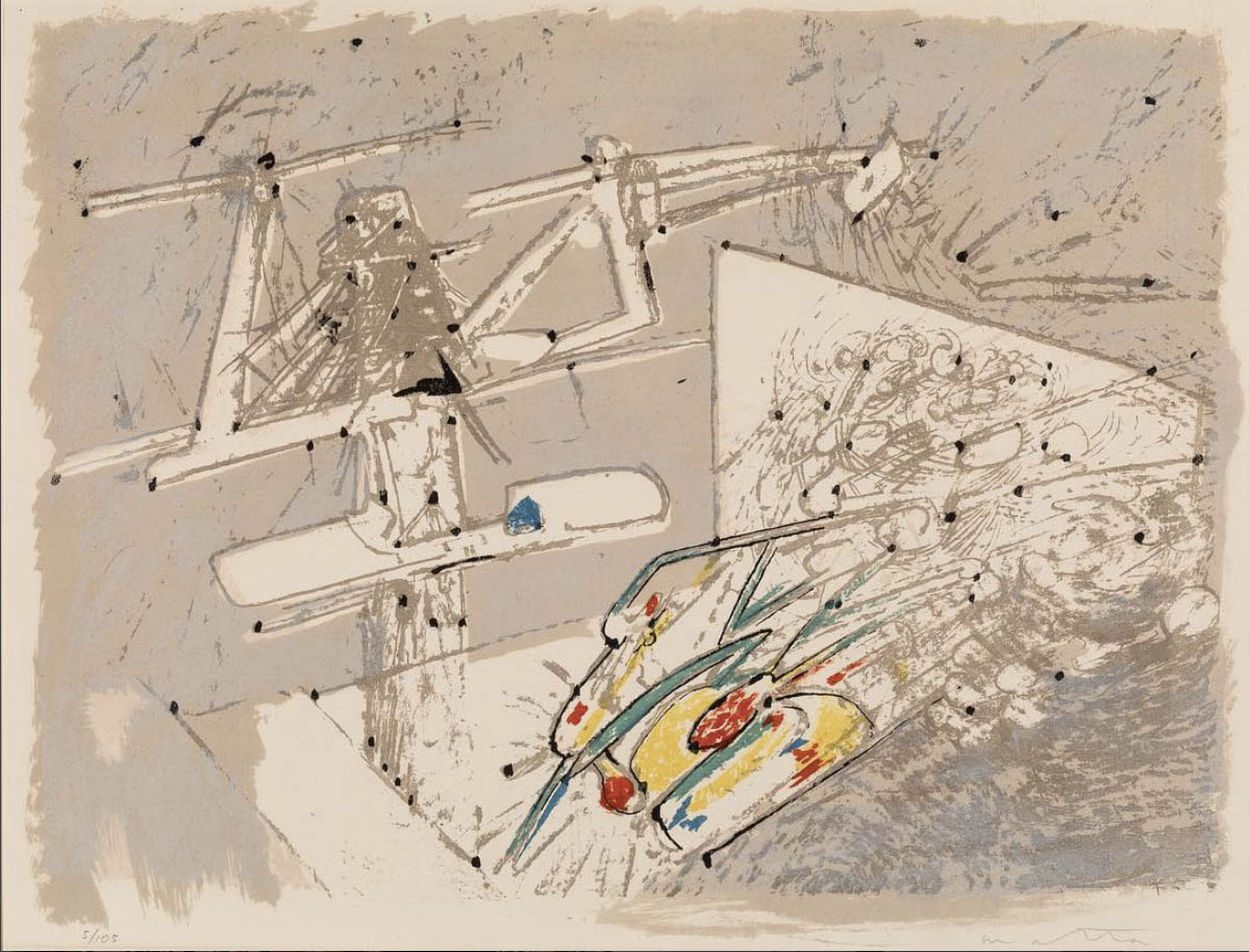 Roberto Matta Echaurren (called Matta), 'Cosmicstrip IV,' 1959, from the series 'Cosmicstrip,' plate 4, ed. 13/50, color etching.⠀