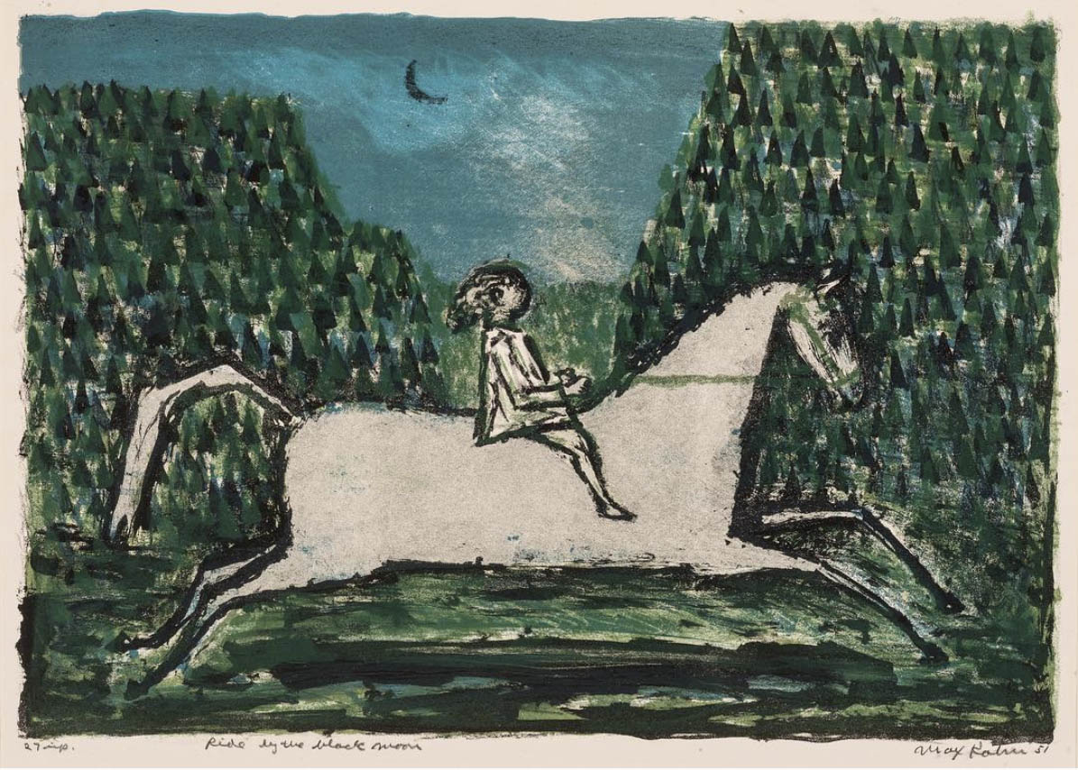 Max Kahn, 'Ride by the Black Moon, 1953, edition of 12, color lithograph.⠀