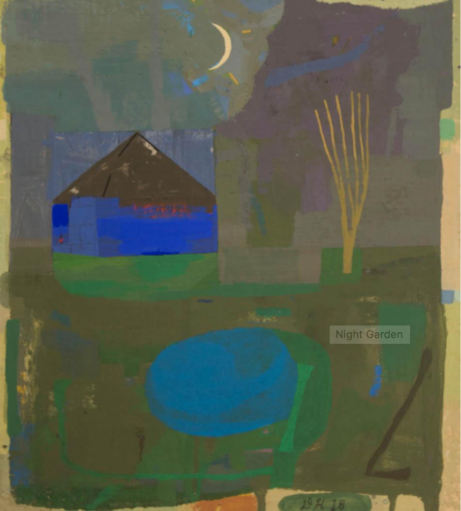 """David Hornung, """"Night Garden"""" gouache on handmade paper 11 x 9 7/8"""", 2018"""