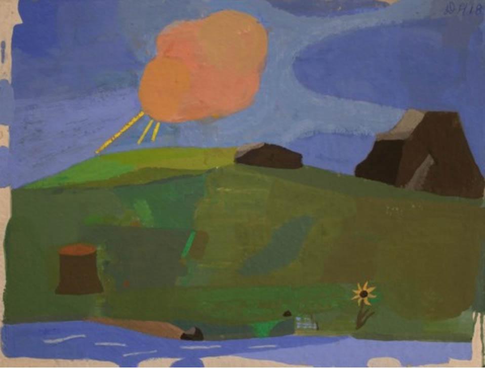 "David Hornung ""Red Cloud"" gouache and casein on handmade paper, 9 x 12"", 2018"