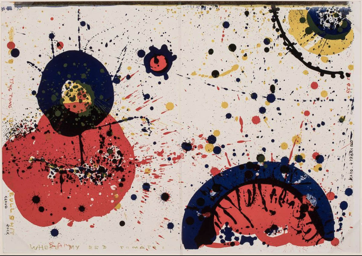 Sam Francis, 'Cloud Rock (left)/Kayo 4 Years Old (right),' 1964, from the portfolio '1 Cent Life,' ed. 911/2000, color lithograph.⠀