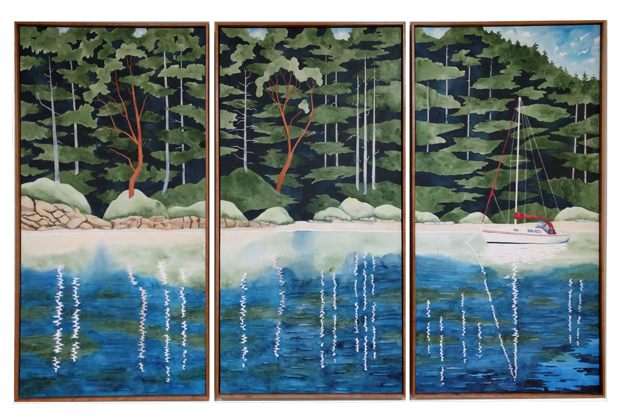 """Shallow Bay Triptych"", Watercolor, 3 at 56 x 28 inches each, 2017"