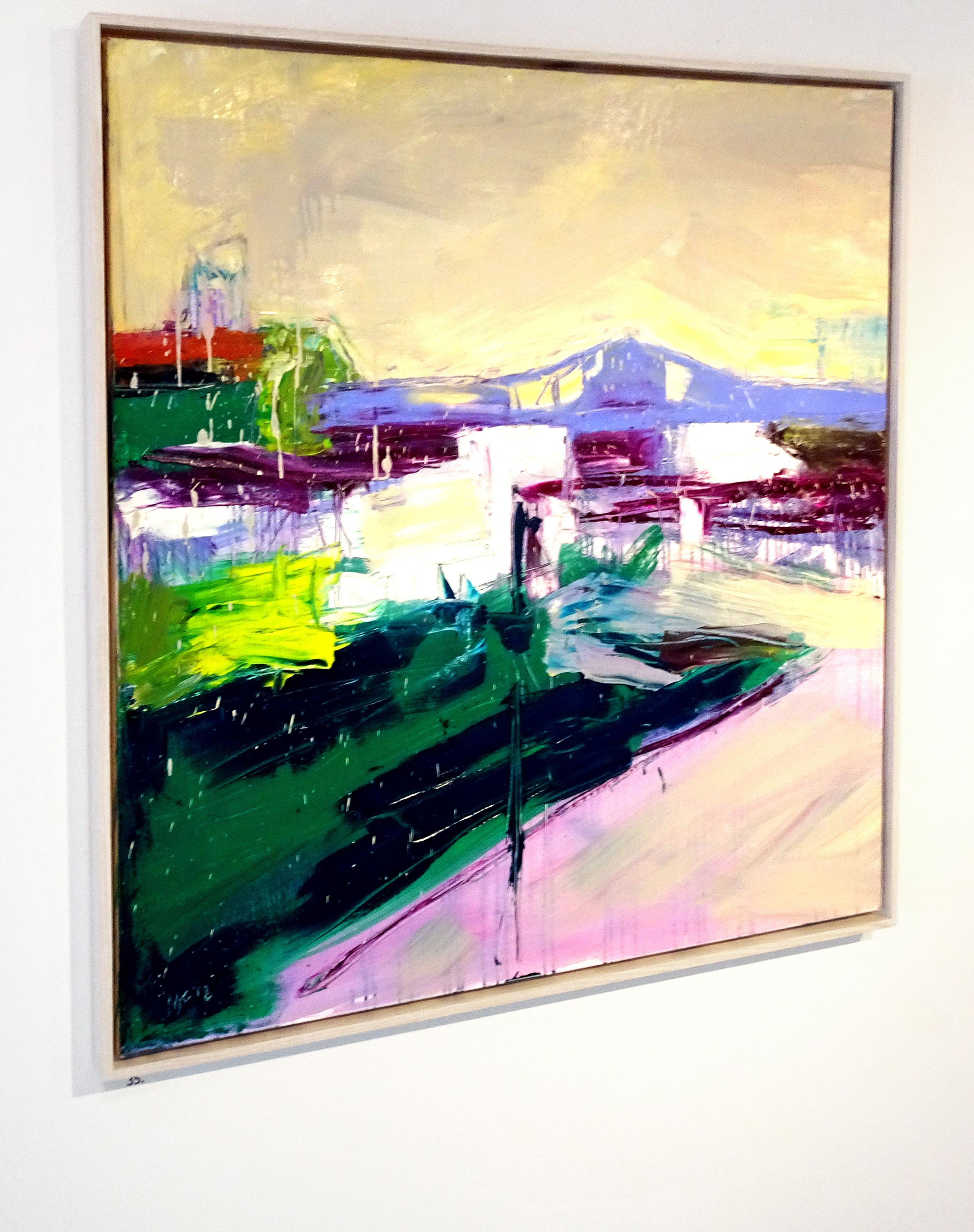 """Harlem River Bridge, 36""x36"" oil on canvas."