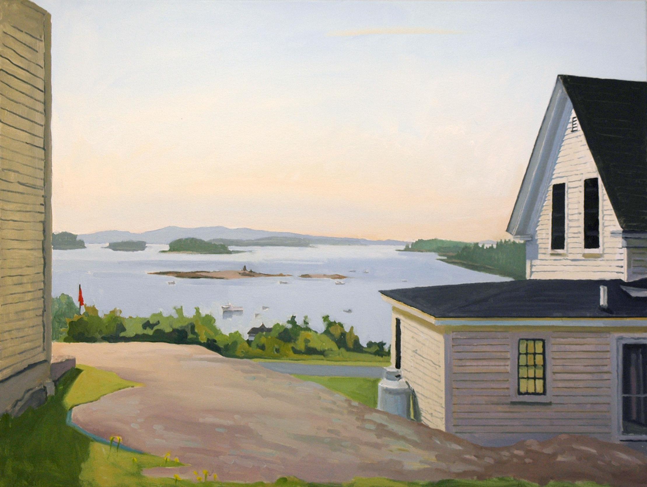 """From a Granite Shelf, Stonington"", 36"" x 48"" oil on canvas 2019"