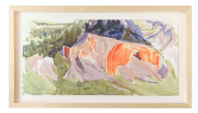 "Terri M. Wells ""Big Horn Movement I""       11"" x 22"" watercolor and ink"