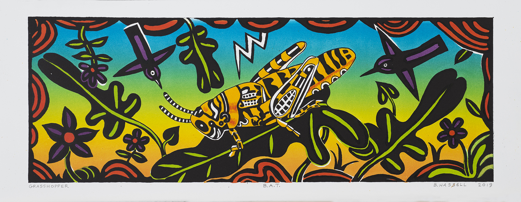 """Billy Hassell GRASSHOPPER color lithograph  8.5"""" x 24"""""""