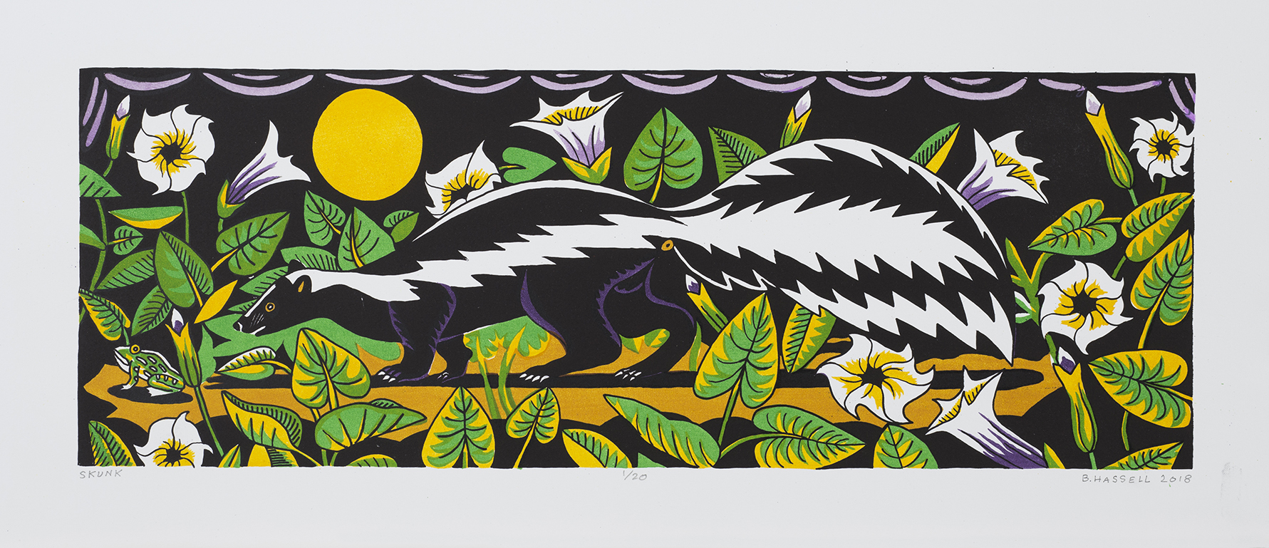 """Billy Hassell SKUNK color lithograph  8.5"""" x 24"""""""