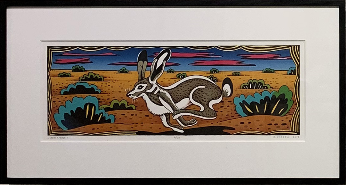 "Billy Hassell JACK RABBIT color lithograph 8.5"" x 24"""
