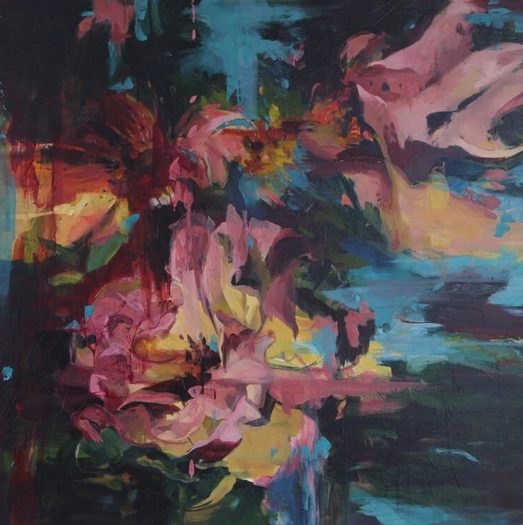 Connie Connally, Rose Garden, oil on canvas,30 x 30 inches