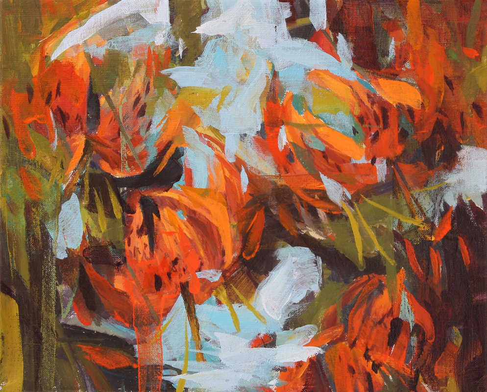 Connie Connally, Tigers on the River Bank, 2019, oil on canvas, 8 x 10 inches