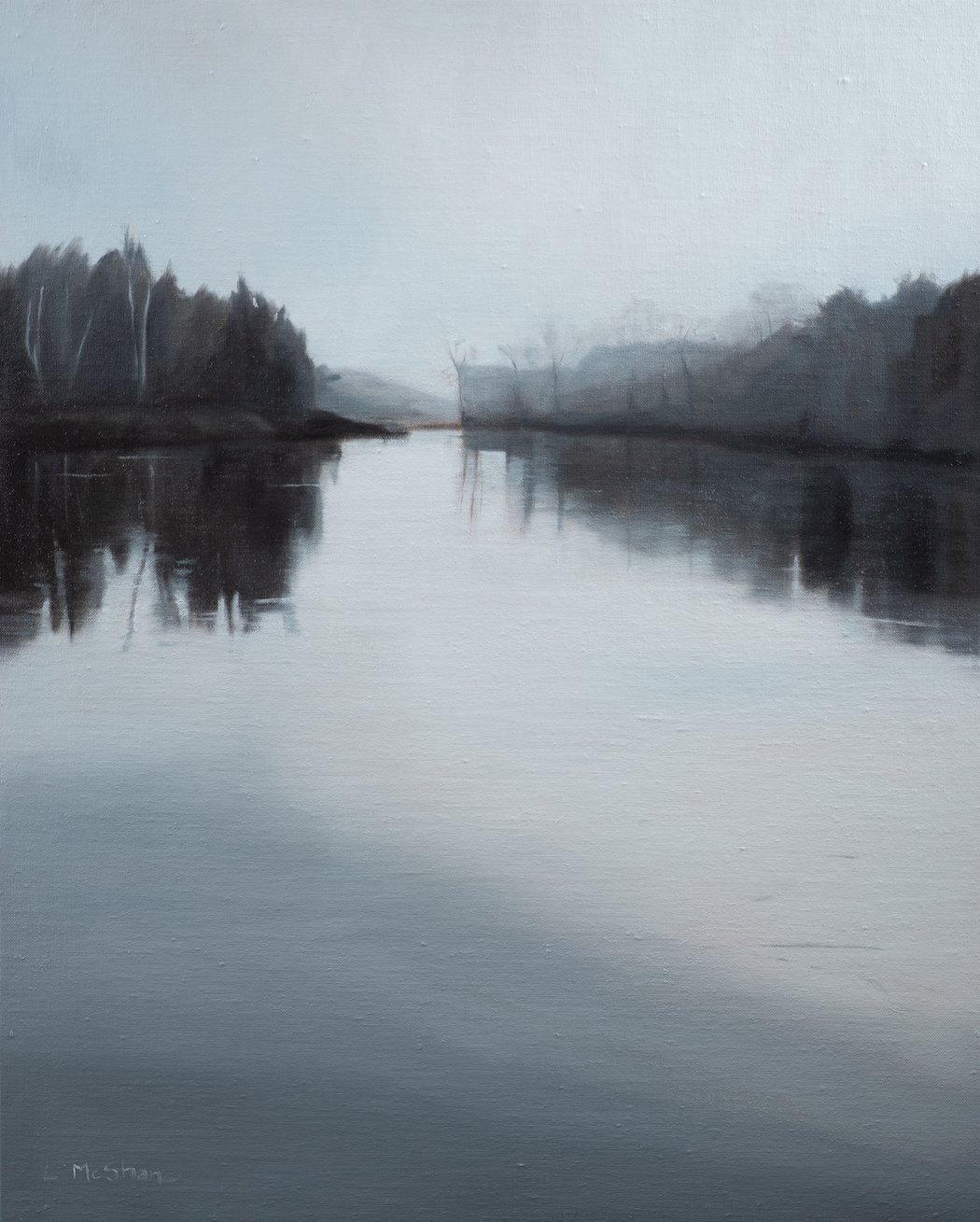 "Lisa McShane, Lhaq'te'mish: Morning Fog on the Nooksack Delta, 2020, Oil on Linen over Wood Panel, 30"" x 20"""