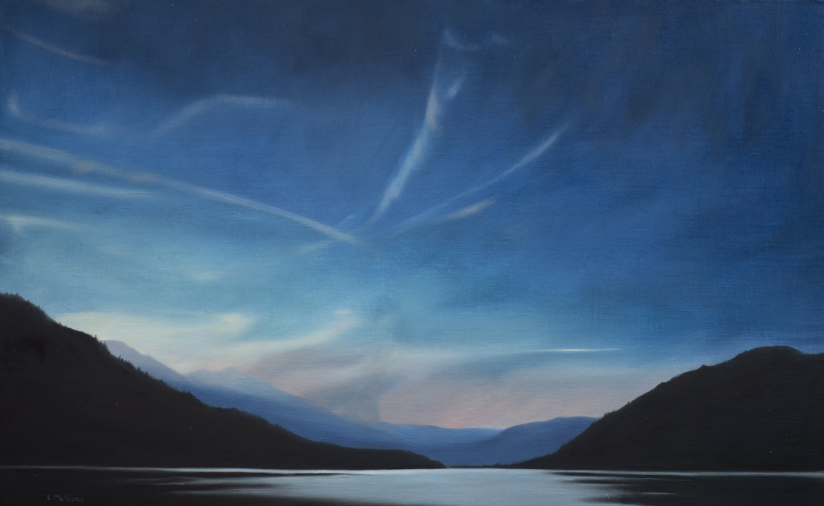"Lisa McShane, Okanagan: Fire on the Horizon, 2020, Oil on Linen Panel, 26"" x 42"""