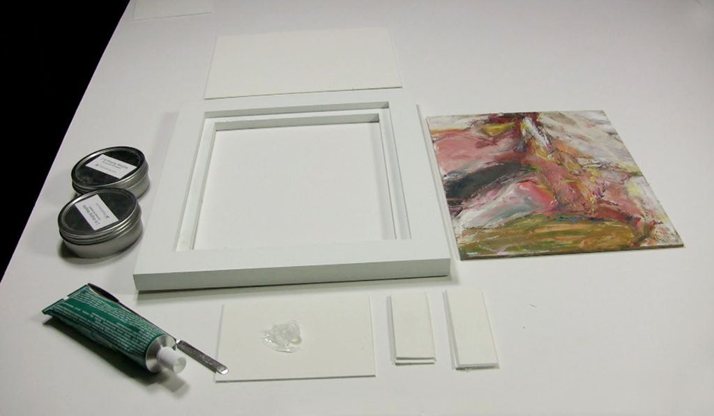 STEP 1 ATTACHING PAINTINGS ON PANELS TO WOOD FLOATER FRAMES