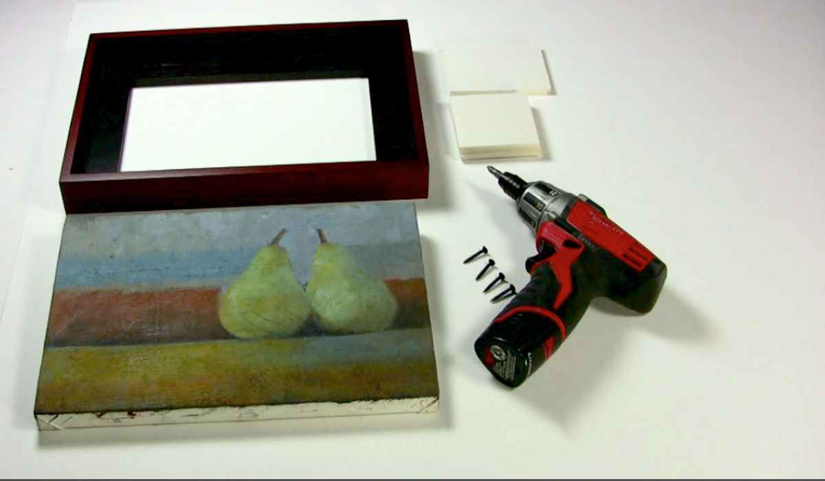 Attaching paintings to wood floater frames metropolitan picture step 1 assemble the tools and supplies they are frame drill screws spacers to keep the painting centered and your painting jeuxipadfo Gallery