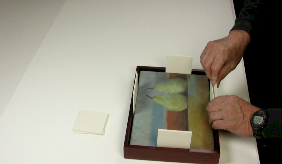 STEP 3 ATTACHING PAINTINGS TO WOOD FLOATER FRAMES