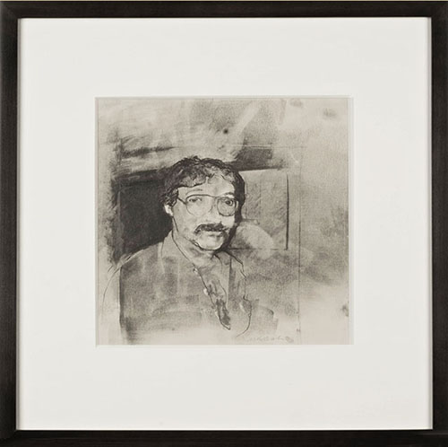 "Marty Nash ""Les"", powdered graphite and pencil, 10"" X 10"""