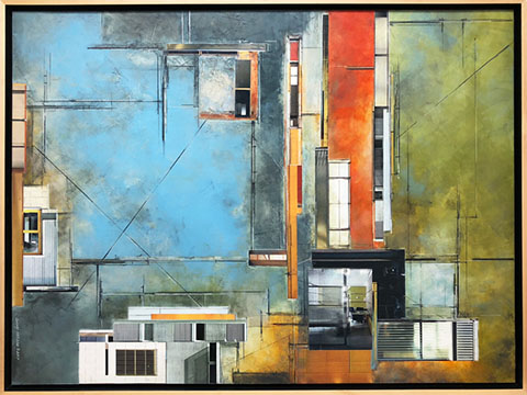 "Ginny Herzog ""Architectural Relic 10-517"" oil/cold wax/collage on panel , 30""x40"""