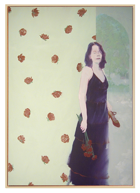 "Mary Hatch ""Red Roses, Red Roses"", oil on linen, 48"" x 34"""