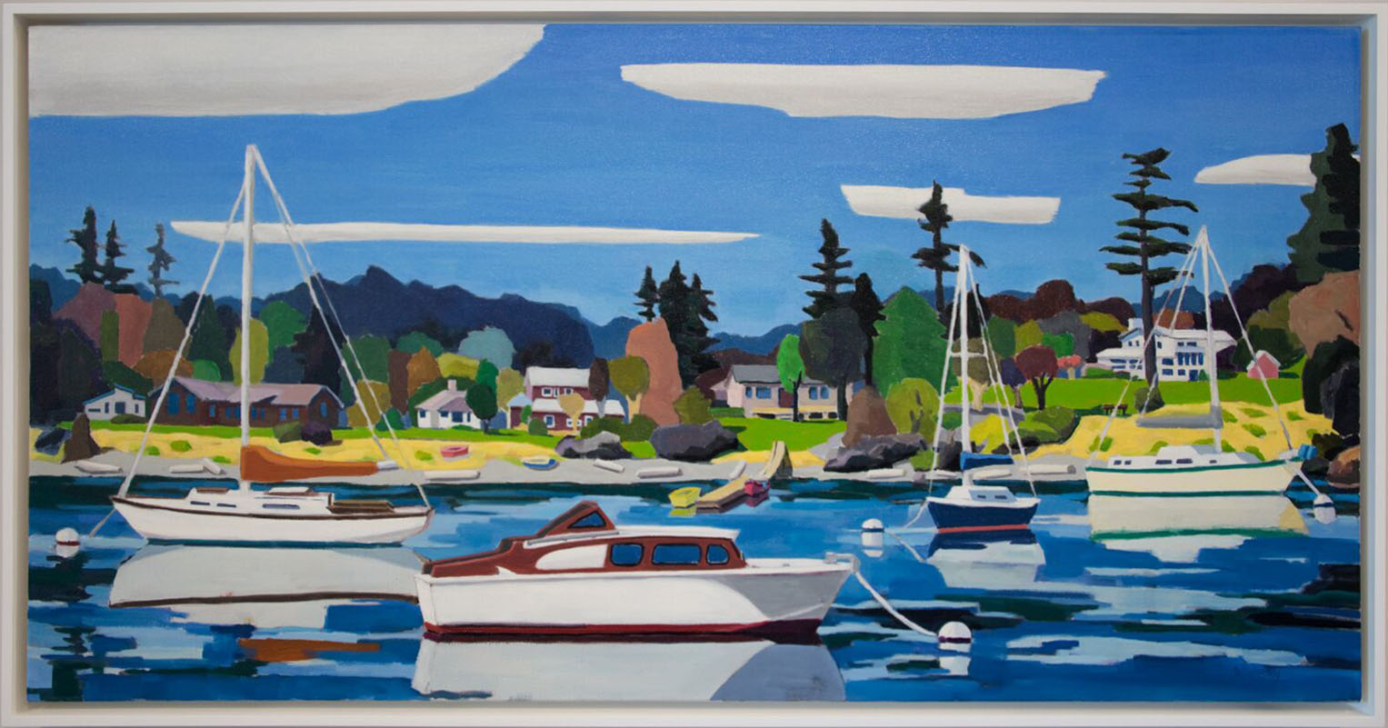 "David Ridgway ""Five Clouds Friday Harbor"" 24 x 48 Oil on Canvas"