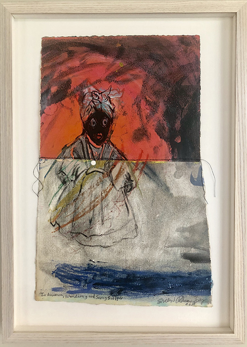 """In America, Wandering and Saving Souls"", 2018, Pastel, ink, thread, acrylic paint on paper, 21 x 9 ½ inches (framed)"